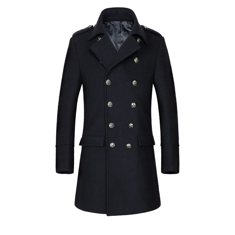 High Quality Fashion Turn-Down Collar Wool Men Pea Coat Double-Breasted Long Male Outwear Solid Cardigans Mens Jackets And Coats(China (Mainland))