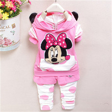 new fashion 2015 baby girl clothing set spring/autumn Children coat+pants suit kids cartoon clothing set free shipping