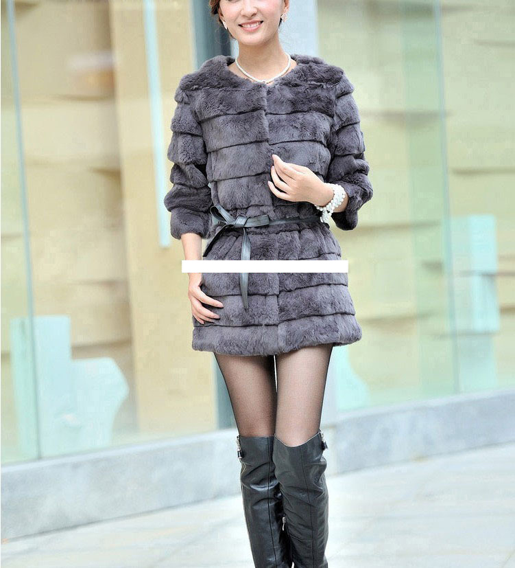 2016 Lady Genuine Real Rabbit Fur Coat Jacket 3/4 Sleeve Autumn Winter Women Fur Outerwear Coats Female Clothing VK3019
