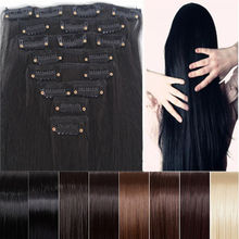 """Clearance Sale Cheapest 8pcs 26"""" Long 170g Straight Style Hair Extension Create Ombre Feeling Soft Synthetic 14 Colors Clip In(China (Mainland))"""