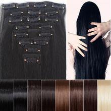 """Clearance Sale más barato 8 unids 26 """" de largo 170 g recta extensión del pelo del estilo crear Ombre sensación suave sintéticas 14 colores Clip en(China (Mainland))"""