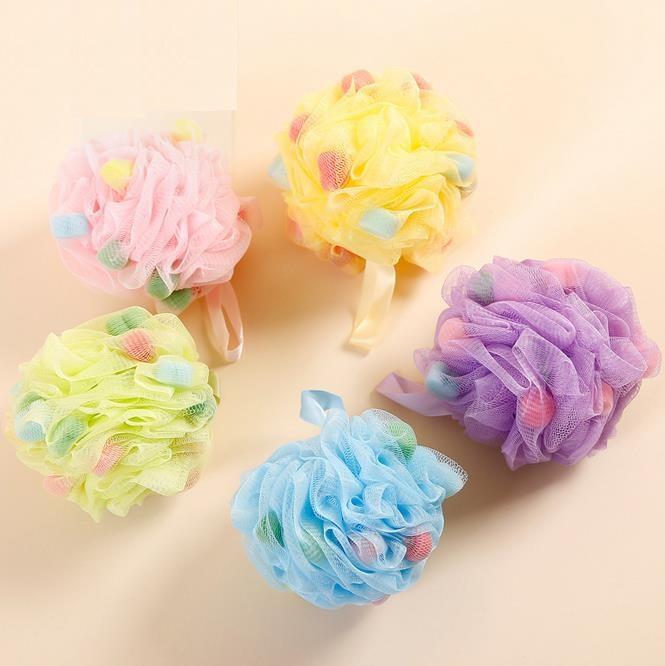 Large Bath Sponge 2pcs/lot Body Wash Bath Ball Soft Diameter 13cm Flower Mesh High quality Cleaning tools Candy Color randomly(China (Mainland))