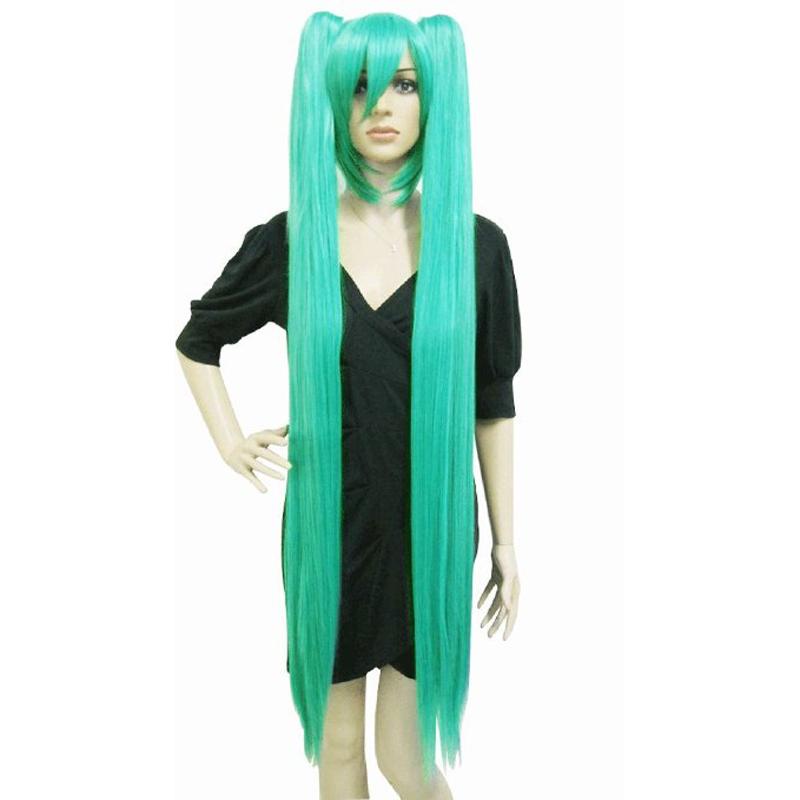 Free Hair Cap + Handmade 48inch 120 Cm Miku's Day Vocaloid Hatsune Miku Cosplay Wig Turquoise Anime Long Green Straight Wigs(China (Mainland))