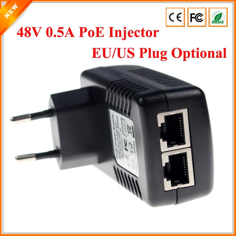 Surveillance CCTV Security 48V 0.5A 24W POE Wall Plug POE Injector Ethernet Adapter IP Camera Phone PoE Power Supply US EU Plug(China (Mainland))