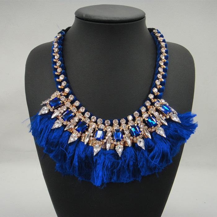 N2015091744  thread tassel luxury stone Collar tie up necklace <br><br>Aliexpress