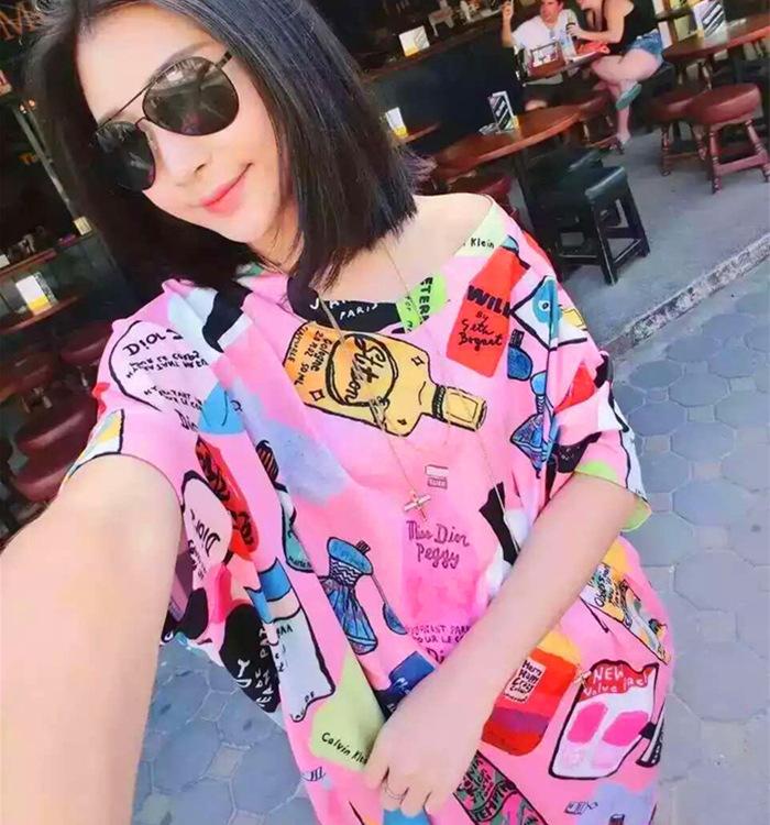2016 Summer Dress Childlike Cartoon Graffiti Print Pink Leopard Strapless Loose Short Sleeve Dress(China (Mainland))