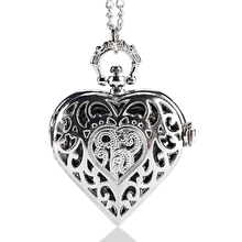 Silver Hollow Quartz Heart-shaped Pocket Watch Necklace Pendant Womens Gift P72(China (Mainland))