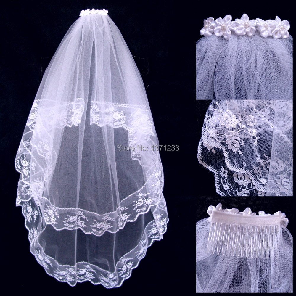 Wedding White 2015 Brides Veil Wedding Accessories Bride Dress Veil With Comb Two Layers White