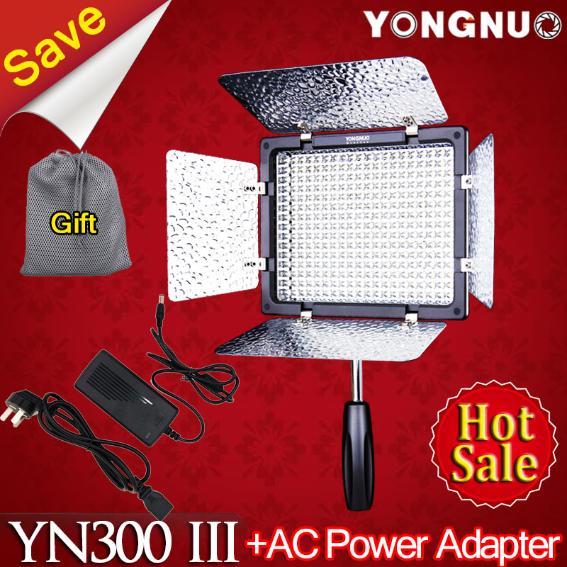 Фотография YONGNUO YN300 III YN-300 III 5500K CRI95 LED Video Light Panel with AC Power Adapter for Sony Canon Nikon Camera Camcorder
