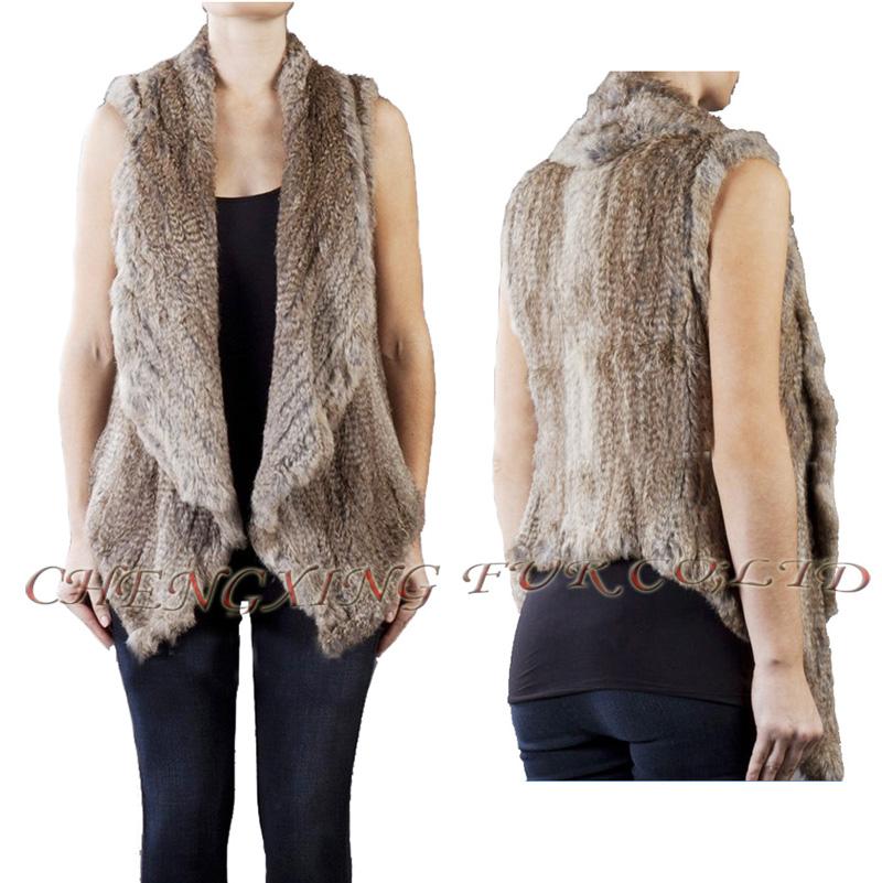 CX-G-B-185 Ladies Knitted Vest Genuine Rabbit Fur Tops ~ DROP SHIPPING