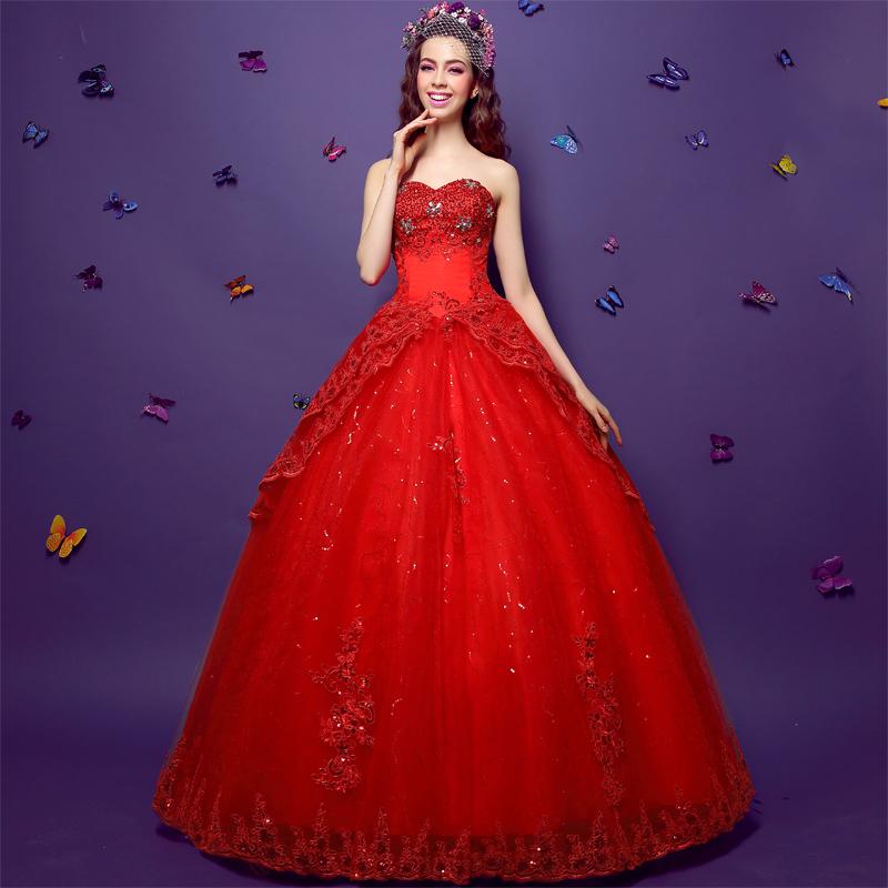 Liefde alleen in de lente van 2015 nieuwe rode jurk slanke kant diamant prinses bruiloft - Dressing liefde ...