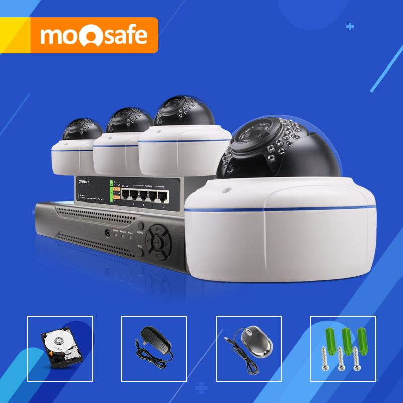 4CH 2MP POE cctv cameras system. 4mm lens. Easy installation Do it yourself. night vision up to 30 mtrs, ONVIF NVR with 2TB HDD(China (Mainland))