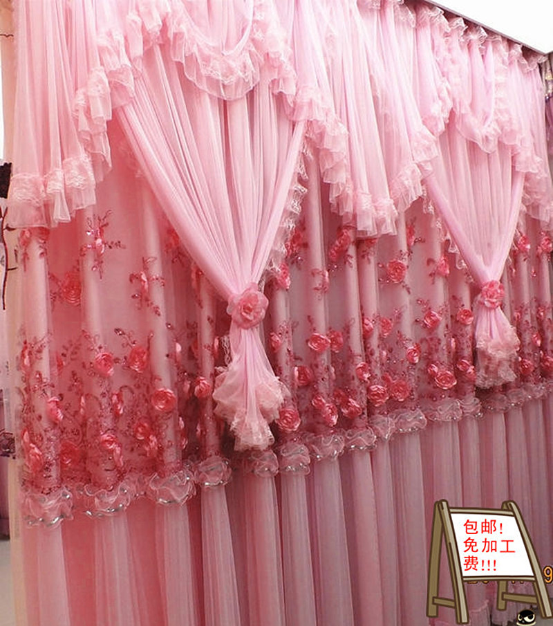 High Quality Lace Curtain Princess Beautiful Living Room Curtains Bedroom Wedding Flower Pink