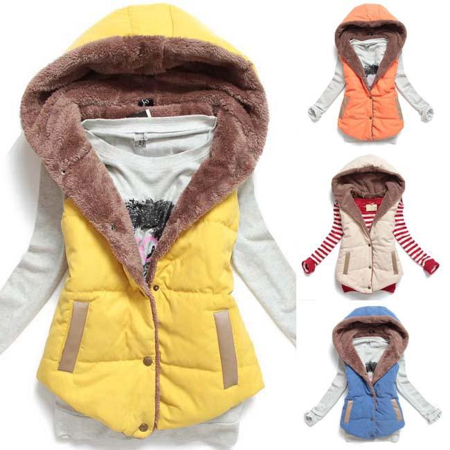 2014 Hot new fashion hooded jacket big yards ladies sleeveless vest cotton vest MLXXXL free shipping MJ1(China (Mainland))