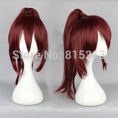 dd001241 Long Wine Red Women Style Anime Cosplay Wig One Ponytail D0315<br><br>Aliexpress