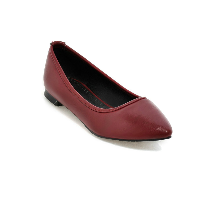 Slip On Pointed Toe Solid Miss Shoes, PU leather Flat Heel Casual Spring Autumn Classic Women Flats Shoes Size 34-39 Dark Red