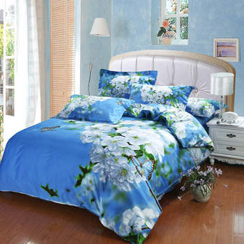 fresh white pear flower butterfly bright blue color background 3d oil painting print bedding set queen size comforter bed covers