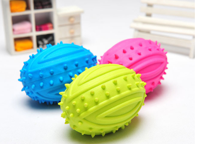 Mix colors order! Wholesale 3pcs/lot soft rubber TPR rugby shape nontoxic good-for-teeth pet dog cat toy(China (Mainland))