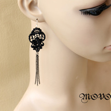 fashion ladies all-match Black Lace tassels long earrings earrings jewelry wholesale(China (Mainland))