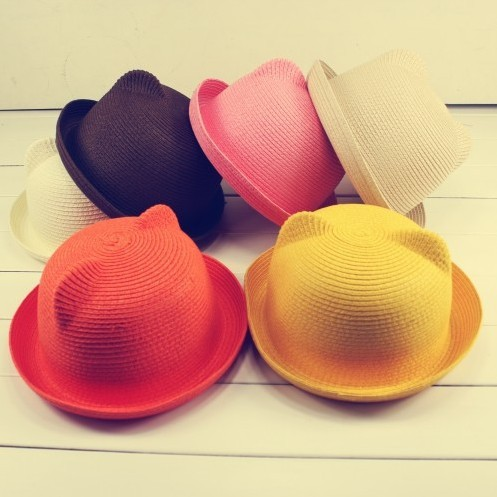 Free shipping 1 PCS 2015 New Sun Hat Fashion Children's Bear Cap Cat Ears Boy And Girl's Straw Hat Multicolor Wholesale(China (Mainland))