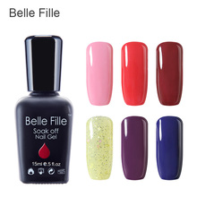 Buy Belle Fille 15ml Gel Nail Polish UV Gel Salmon Pink Color Nail Gel Bling Shining Profesional UV LED Soak Manicure Varnish for $2.78 in AliExpress store