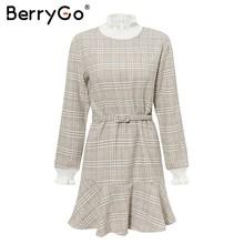 BerryGo Элегантное платье в клетку женское коротким трикотажным платьем женское с рюшами и винтажными осенними офисными дамскими платьями(China)