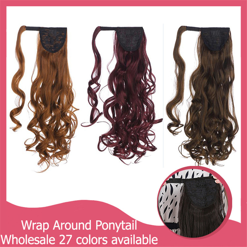 Wholesale 10pcs/lot Good Quality New Fashion Stylish Curly Synthetic Ponytail Hair Extension Multicolor Party Xmax Gifts P002<br><br>Aliexpress