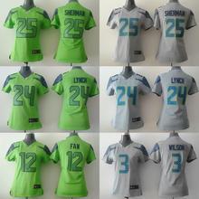 2016 Women Ladies Seattle Seahawks, #Marshawn Lynch,Richard Sherman,,Russell Wilsons,100% stitched logo,camouflage(China (Mainland))