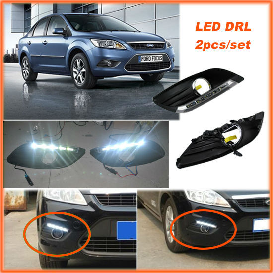 CAR-Specific Cold White LED DRL Daytime Running Lights Day Fog Lamp for Ford Focus Sedan 2009 2010 2011 2012 2013 2pcs per set(China (Mainland))