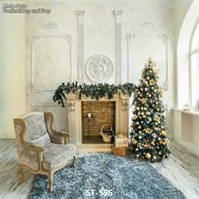 Custom vinyl print cloth 3D Christmas tree room photography backdrops for kids photo studio portrait backgrounds props ST-595(China (Mainland))