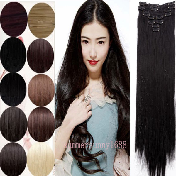 """Excellent 8 PCS 20 Colors Clip in Hair Extensions Full Head Women Lady 26"""" Straight Real Thick 145g Hair pieces(China (Mainland))"""