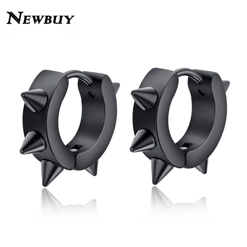 NEWBUY Fashion Hiphop Small Hoop earrings stainless steel punk biker black ear jewelry for women men accessories(China (Mainland))