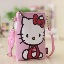 PU leather women handbags cartoon character kitty printing mini messenger bag coin purses small pouch bolsas femininas for girls(China (Mainland))