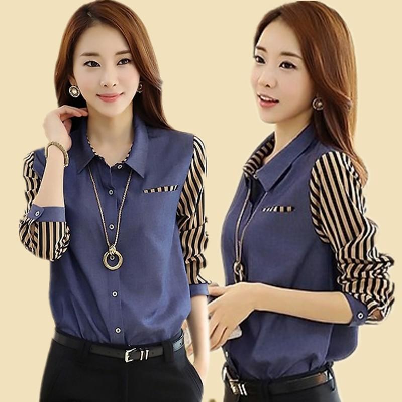 2015 spring and autumn casual denim shirt female long-sleeve basic shirt plus size clothing slim formal professional shirt(China (Mainland))