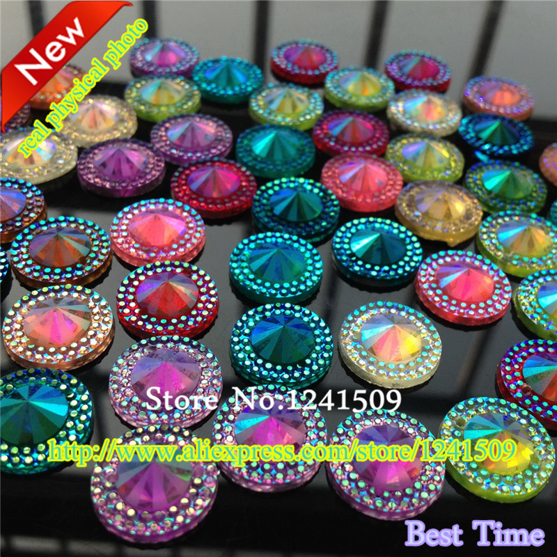 Promotion Hot Sell 120PCS Round Acrylic Rhinestone 2 Hole Mixed Color For Sewing Handicraft Dance Costume DIY Bag Accessory33(China (Mainland))