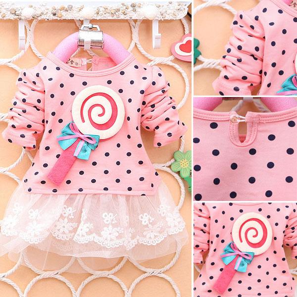 Lovely Infant Kids Girls Dots Bow Princess Dress Long Sleeve Mini Dress(China (Mainland))