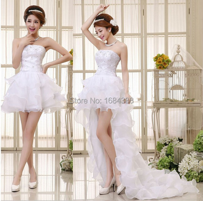 Buy white crystal detachable train for Short wedding dress with removable train