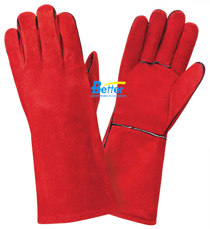 Leather Safety Glove Welding Glove Cow Split Leather Work Glove(China (Mainland))