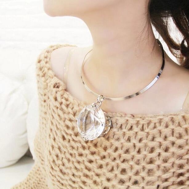 Европейский мода большой стеклянный камень моменты ожерелье золото серебро металл ...