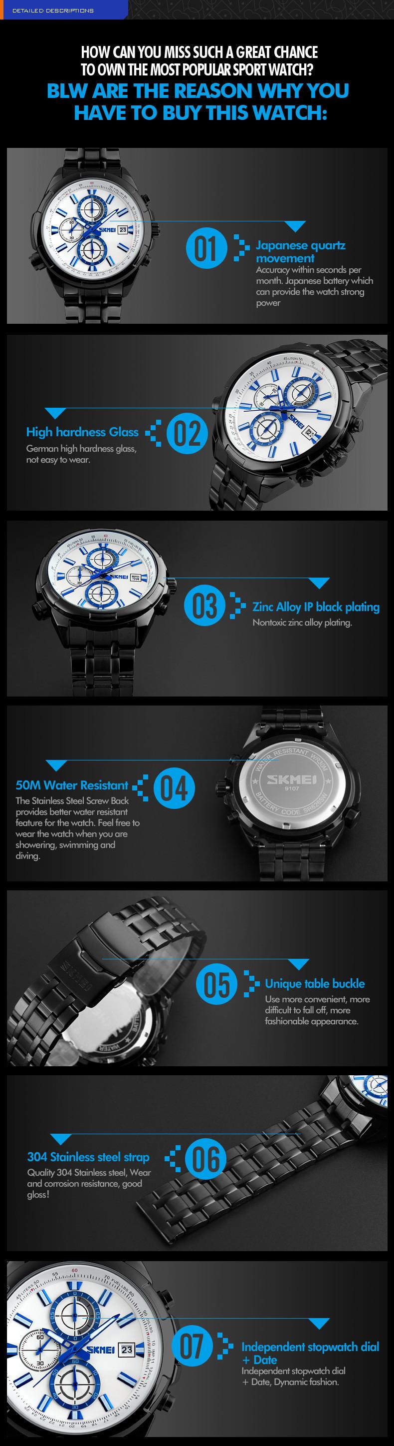 Skmei 9107 Мужская Мода Кварцевые Часы Водонепроницаемость Спортивного Стиля Из Нержавеющей Стали Ремешок Наручные Часы