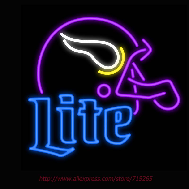 2017 New Neon Sign Board Miller Lite Real Glass Tube Helmet Neon Sign Light vintage neon sign LOGO Handcrafted Iconic Sign 24x24(China (Mainland))