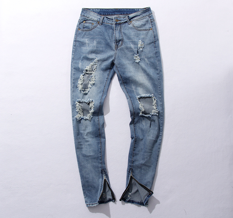 2016 fashion high street mens destroyed jeans hole casual pants ankle cool blue joggger damage rock star - CHENXUAN NELLY Hip Hop store