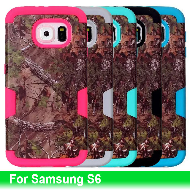 Triple Layer Hybrid Real Tree Camouflage Hard PC+Silicone Back Case Cover For Samsung Galaxy S6 Mobile Phone Camo Shell Cases(China (Mainland))