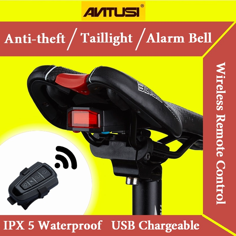 Bicycle Wireless Anti-theft Alarm Lock Bike Remote Control Rear Light Antusi Bell Cycling Safety Taillight Bicicletas Smart Lamp(China (Mainland))