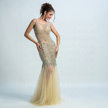 2016 High Quality Yellow See Through Sleeveless Beading Sequins Mermaid prom dresses open back evening gown sexy Party Dresses(China (Mainland))