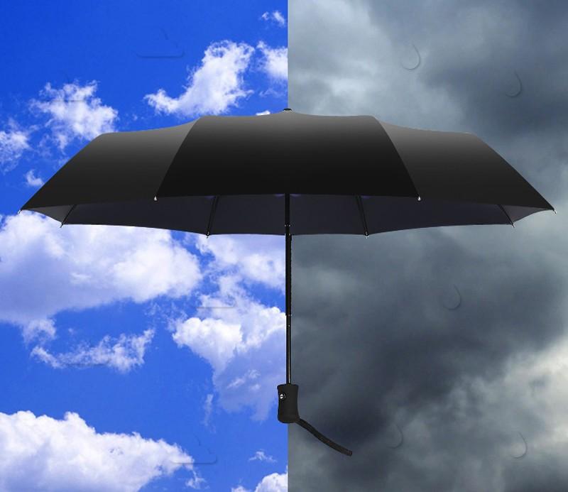 Fashion 3 Fold Automatic Women Umbrella Sun Rain Anti UV Windproof Male Black Ultra Light Mini Parasol