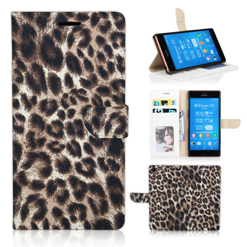 Elegant Classic Leopard Pattern Bag Purse Cover for Sony Xperia Z3 D6603 D6643 D6653 Value Flip Case With Photo Frame Stand(China (Mainland))