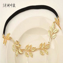 Free Shipping 2016 Best Deal High Quality Hot Selling Gold Olive Leaves Leaf Stretchy Hair HeadBand Grecian Style Trending