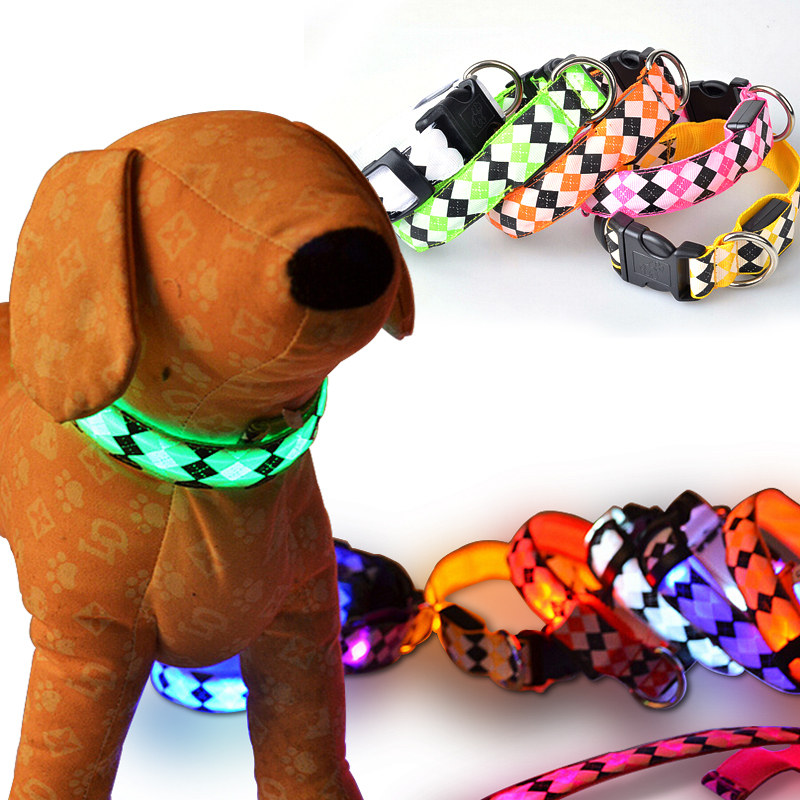 New luminescent rhombus Pet collar flash light emitting Pet collar LED luminous dog Pet collar for with small medium dogs pet(China (Mainland))