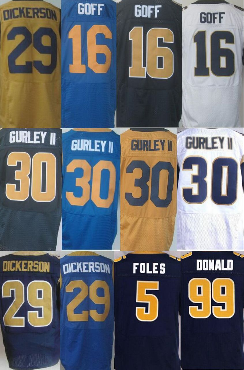 Best quatily jersey,Men's 16 Jared Goff 29 Eric Dickerson 30 Todd Gurley II 99 Aaron Donald elite jersey,Navy Blue,Light Blue(China (Mainland))